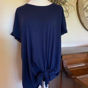 Lane Bryant 22/24 Navy Blue Tie Front Blouse Top